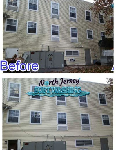 North Jersey Soft Washing Commercial Building Cleaning Apartment Building Pressure Washing Before and After Bergen County NJ